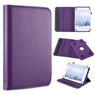 Universal 360 Degree Rotating Leather Folio Kickstand Case - Purple