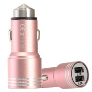 Dual USB Metal Alloy Car Charger Adapter with Emergency Safety Hammer Function - Rose Gold