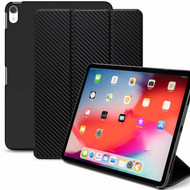 *Sale* Smart Leather Hybrid Case with Auto Sleep/Wake Trifold Cover for iPad Pro 11 inch - Carbon Fiber Black