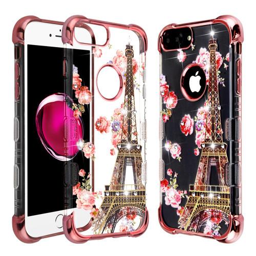 TUFF Klarity Lux Diamond Electroplating Transparent Anti-Shock TPU Case for iPhone 8 Plus / 7 Plus / 6S Plus / 6 Plus - Paris in Full Bloom