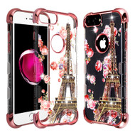 TUFF Klarity Lux Diamond Electroplating Transparent Anti-Shock TPU Case for iPhone 8 Plus / 7 Plus / 6S Plus / 6 Plus - Paris in Full Bloom
