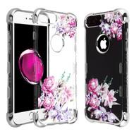 TUFF Klarity Lux Diamond Electroplating Transparent Anti-Shock TPU Case for iPhone 8 Plus / 7 Plus / 6S Plus / 6 Plus - Romantic Love Flowers