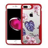Vista Ultra Hybrid Shock Absorbent Crystal Case for iPhone 8 Plus / 7 Plus - Violet Monstera