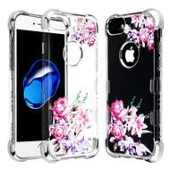 TUFF Klarity Lux Diamond Electroplating Transparent Anti-Shock TPU Case for iPhone 8 / 7 / 6S / 6 - Romantic Love Flowers