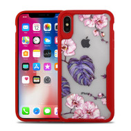 Vista Ultra Hybrid Shock Absorbent Crystal Case for iPhone XS / X - Violet Monstera