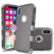 Military Grade Certified TUFF Lucid Transparent Hybrid Armor Case for iPhone XS / X - Smoke