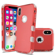 Military Grade Certified TUFF Lucid Transparent Hybrid Armor Case for iPhone XS / X - Red