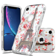 Military Grade Certified TUFF Lucid Transparent Hybrid Armor Case for iPhone XR - Paris in Full Bloom