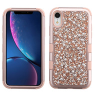 Military Grade Certified TUFF Hybrid Armor Case for iPhone XR - Pearls Rose Gold