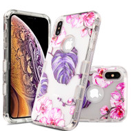 Military Grade Certified TUFF Lucid Transparent Hybrid Armor Case for iPhone XS Max - Violet Monstera