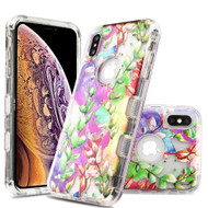 Military Grade Certified TUFF Lucid Transparent Hybrid Armor Case for iPhone XS Max - Groovy Vine