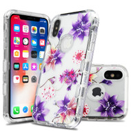 Military Grade Certified TUFF Lucid Transparent Hybrid Armor Case for iPhone XS / X - Purple Stargazers