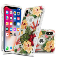 Military Grade Certified TUFF Lucid Transparent Hybrid Armor Case for iPhone XS / X - Hibiscus
