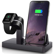 *SALE* 2-IN-1 Powered Dock Stand Charging Station for Apple Watch and iPhone - Black