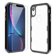 Military Grade Certified TUFF Lucid Plus Hybrid Armor Case with Tempered Glass Screen Protector for iPhone XR - Black