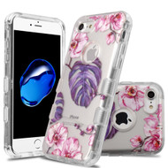 Military Grade Certified TUFF Lucid Transparent Hybrid Armor Case for iPhone 8 / 7 - Violet Monstera