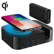 Naztech Ultimate Wireless Charger Power Station with Portable Battery Pack - Black