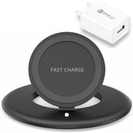10W Fast Qi Wireless Adjustable Charging Pad with Quick Charge 3.0 Power Adapter - Black