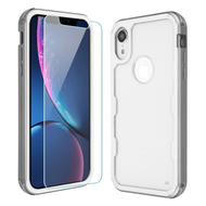 Military Grade Certified TUFF Lucid Plus Hybrid Armor Case with Tempered Glass Screen Protector for iPhone XR - Silver