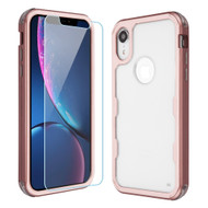 Military Grade Certified TUFF Lucid Plus Hybrid Armor Case with Tempered Glass Screen Protector for iPhone XR - Rose Gold