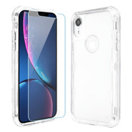 Military Grade Certified TUFF Lucid Plus Hybrid Armor Case with Tempered Glass Screen Protector for iPhone XR - Clear