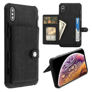 Executive Card Pouch Wallet Case with Stand for iPhone XS Max - Black
