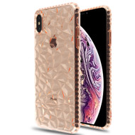 3D Polygon Transparent TPU Case for iPhone XS Max - Rose Gold