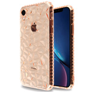 3D Polygon Transparent TPU Case for iPhone XR - Rose Gold
