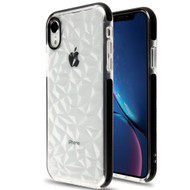 3D Polygon Transparent TPU Case for iPhone XR - Black