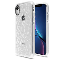 3D Polygon Transparent TPU Case for iPhone XR - White