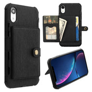 Executive Card Pouch Wallet Case with Stand for iPhone XR - Black