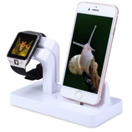 2-IN-1 Powered Dock Stand Charging Station for Apple Watch and iPhone - White