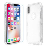 Military Grade Certified TUFF Lucid Plus Hybrid Armor Case with Tempered Glass Screen Protector for iPhone XS / X - Clear