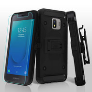 3-IN-1 Kinetic Hybrid Armor Case with Holster and Tempered Glass Screen Protector for Samsung Galaxy J2 - Black