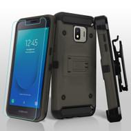 3-IN-1 Kinetic Hybrid Armor Case with Holster and Tempered Glass Screen Protector for Samsung Galaxy J2 - Grey