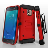 3-IN-1 Kinetic Hybrid Armor Case with Holster and Tempered Glass Screen Protector for Samsung Galaxy J2 - Red