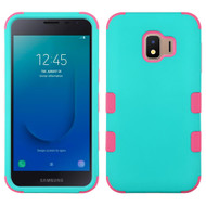 Military Grade Certified TUFF Hybrid Armor Case for Samsung Galaxy J2 - Teal Green Electric Pink