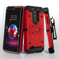 3-IN-1 Kinetic Hybrid Armor Case with Holster and Tempered Glass for LG K30 / Harmony 2 / Premier Pro - Red