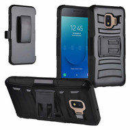 Advanced Armor Hybrid Kickstand Case with Holster and Tempered Glass Screen Protector for Samsung Galaxy J2 - Black
