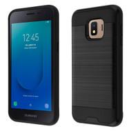 Brushed Coated Hybrid Armor Case for Samsung Galaxy J2 - Black