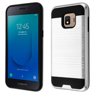 Brushed Coated Hybrid Armor Case for Samsung Galaxy J2 - Silver