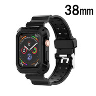 Rugged Sport Case with Strap Band for Apple Watch 38mm - Black