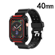 Rugged Sport Case with Strap Band for Apple Watch 40mm Series 4 - Black Red