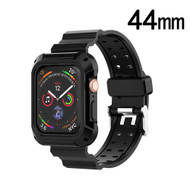 Rugged Sport Case with Strap Band for Apple Watch 44mm Series 5 / Series 4 - Black