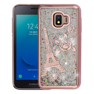 Electroplating Quicksand Glitter Transparent Case for Samsung Galaxy J2 - Eiffel Tower Rose Gold