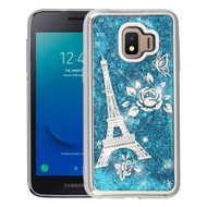Electroplating Quicksand Glitter Transparent Case for Samsung Galaxy J2 - Eiffel Tower Silver