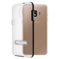 Bumper Shield Clear Transparent TPU Case with Magnetic Kickstand for Samsung Galaxy J2 - Black