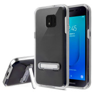 Bumper Shield Clear Transparent TPU Case with Magnetic Kickstand for Samsung Galaxy J2 / J2 Pure - Silver