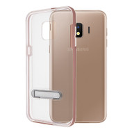Bumper Shield Clear Transparent TPU Case with Magnetic Kickstand for Samsung Galaxy J2 - Rose Gold