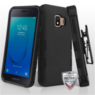 Military Grade Certified TUFF Hybrid Armor Case with Holster for Samsung Galaxy J2 - Black